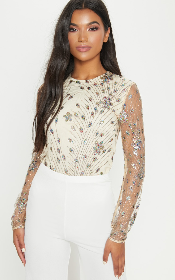Nude Glitter Embroidered Mesh Long Sleeve Bodysuit 1