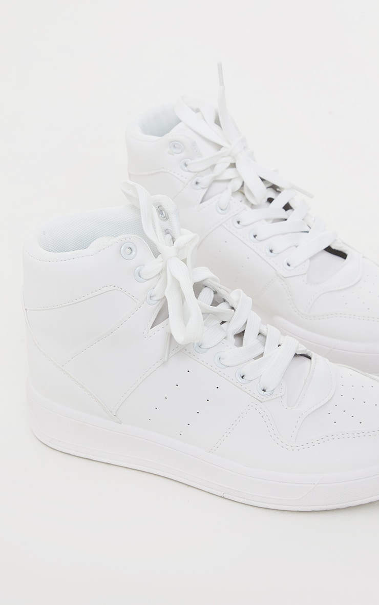 White Lace Up Sports High Top Sneakers 4