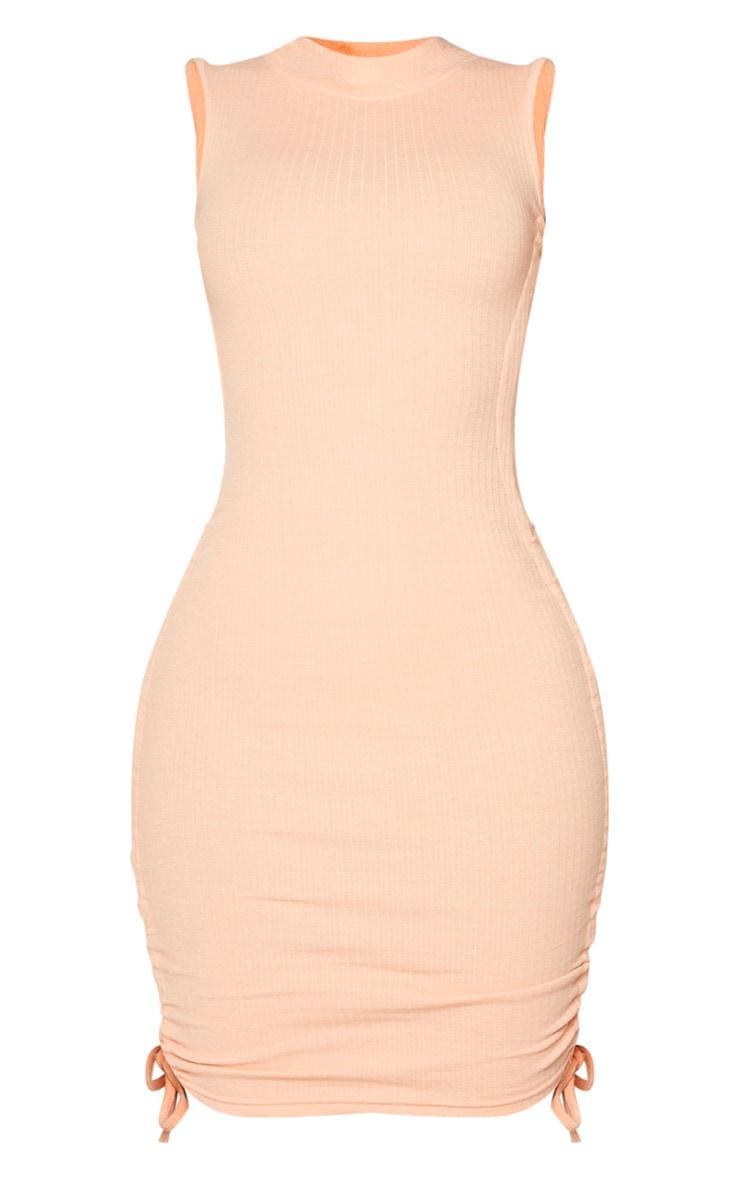 Shape Peach Thick Rib Ruched Side Sleeveless Bodycon Dress 5