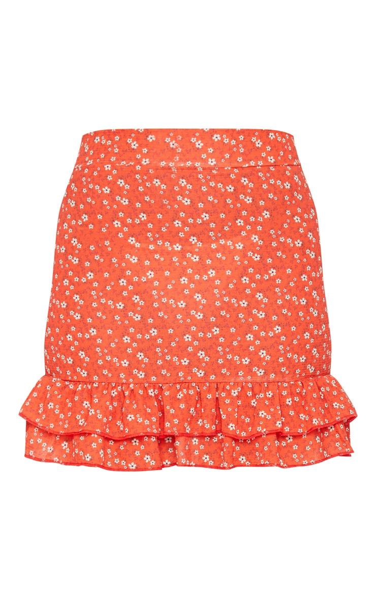 Red Floral Printed High Waist Mini Skirt 5