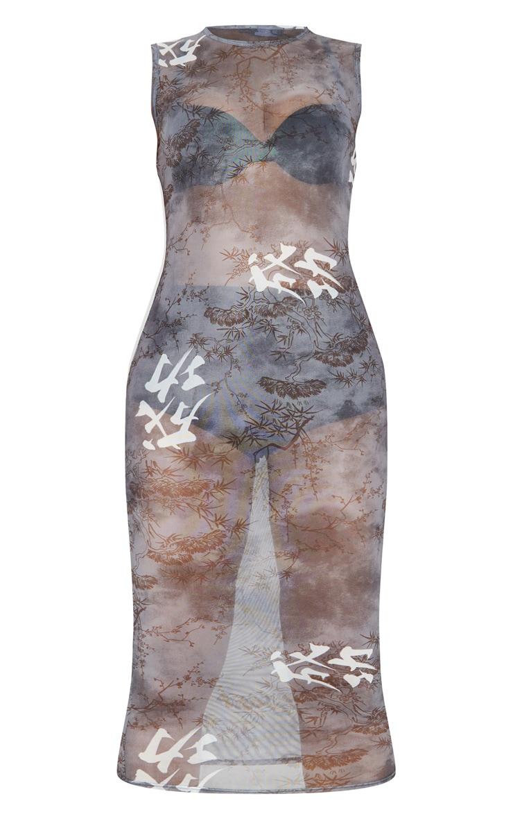 Tall Black Oriental Mesh Midi Dress 3