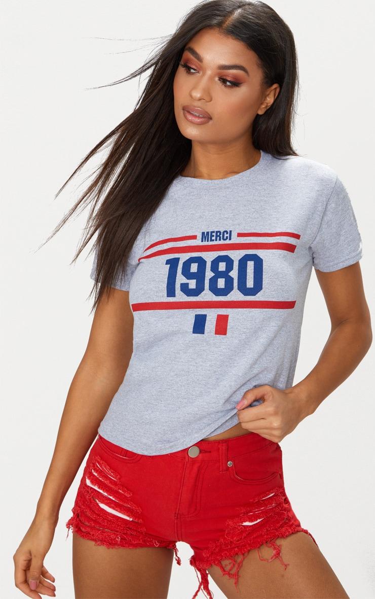 Grey 1980 Slogan T Shirt 1