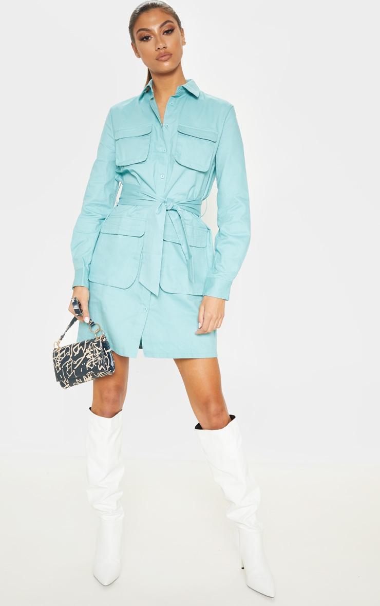 Tall Dusty Turquoise Utility Tie Waist Shirt Dress  1