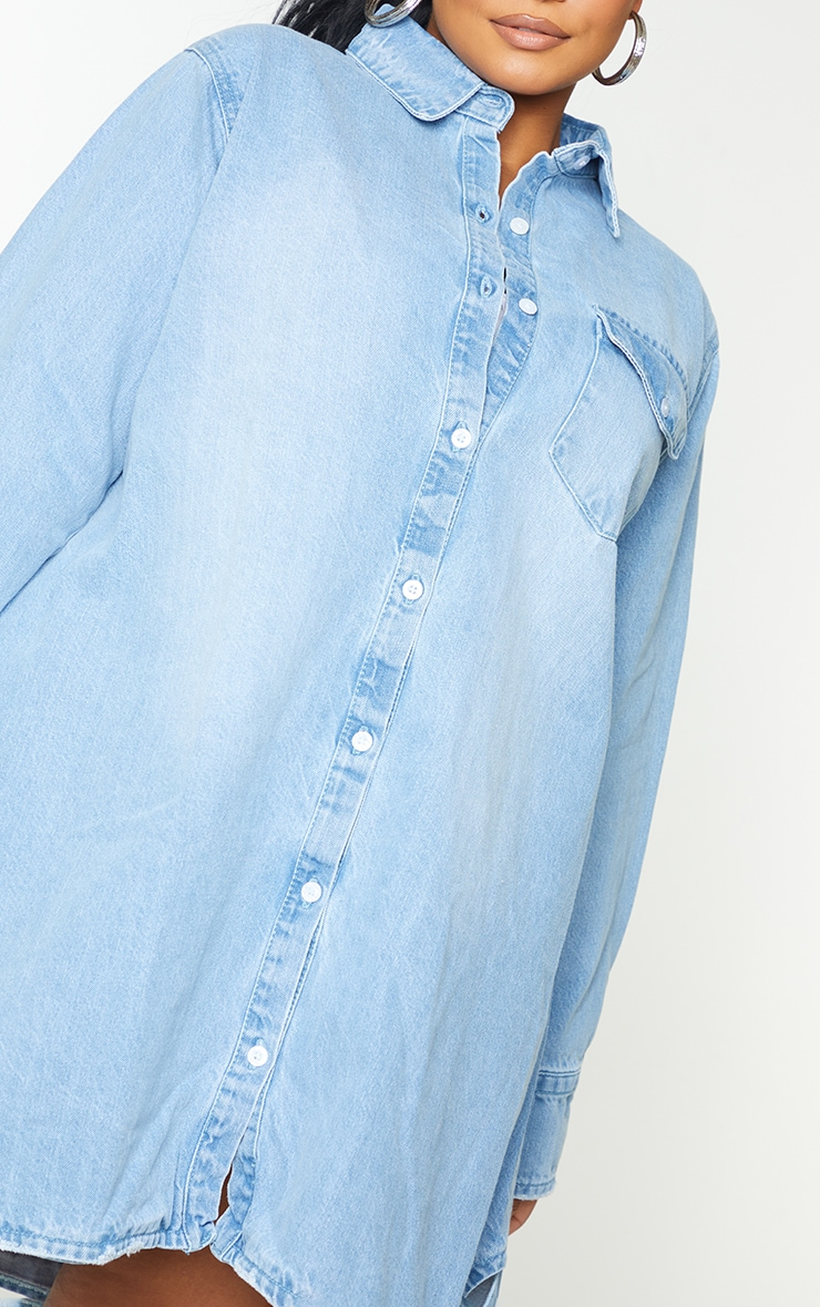Plus Blue Oversized Denim Shirt Dress