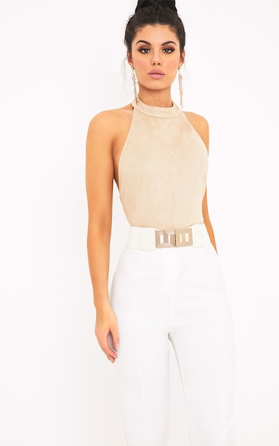 Leigh Mink Suedette Backless Thong Bodysuit