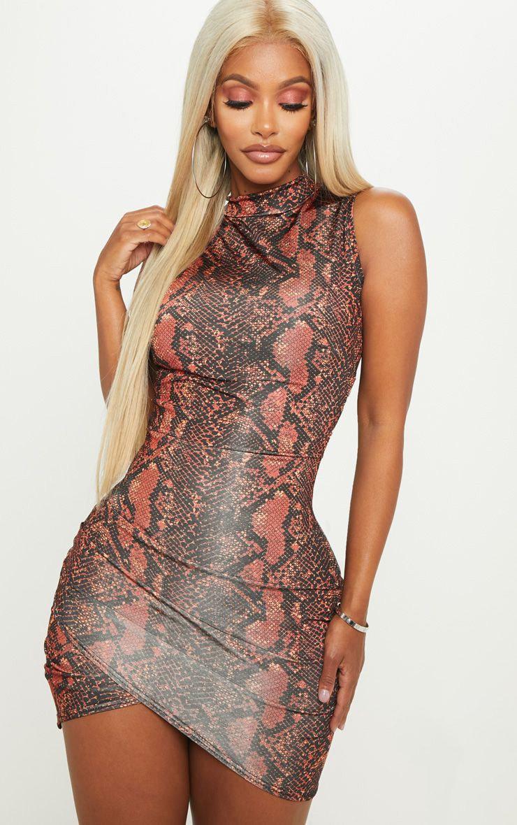 Shape Rust High Neck Snake Print Bodycon Dress 1
