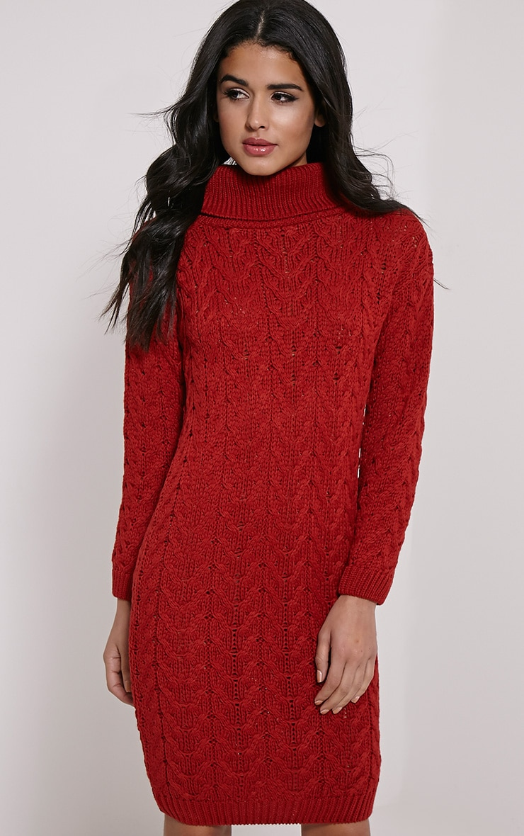 Stormie Rust Cable Knit Long Length Jumper Dress 3