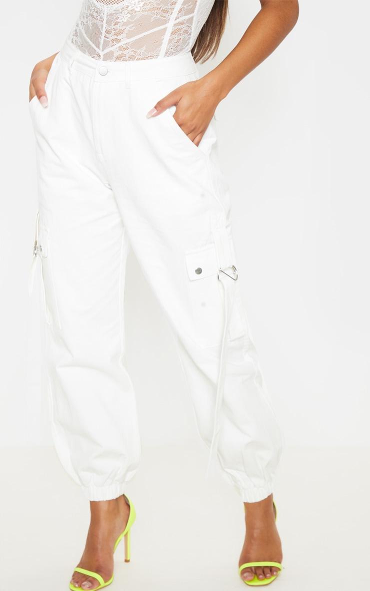 White Cargo Pocket Utility Jean 2