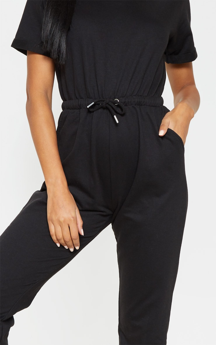 Black Sweat Short Sleeve Track Pant Jumpsuit 5