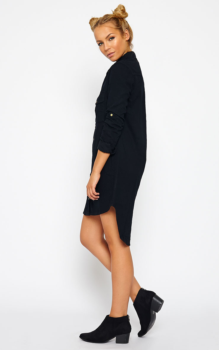 Sachi Black Denim Shirt Dress 4