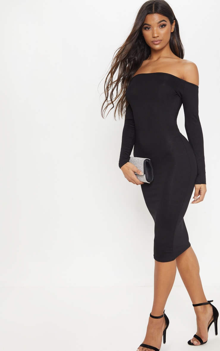 Basic Black Jersey Bardot Midi Dress 4
