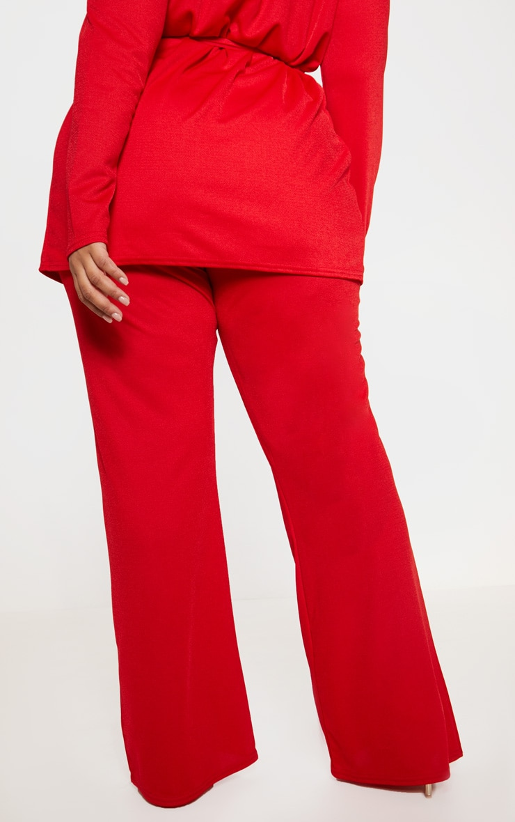 Plus Red Wide Leg Trouser  4