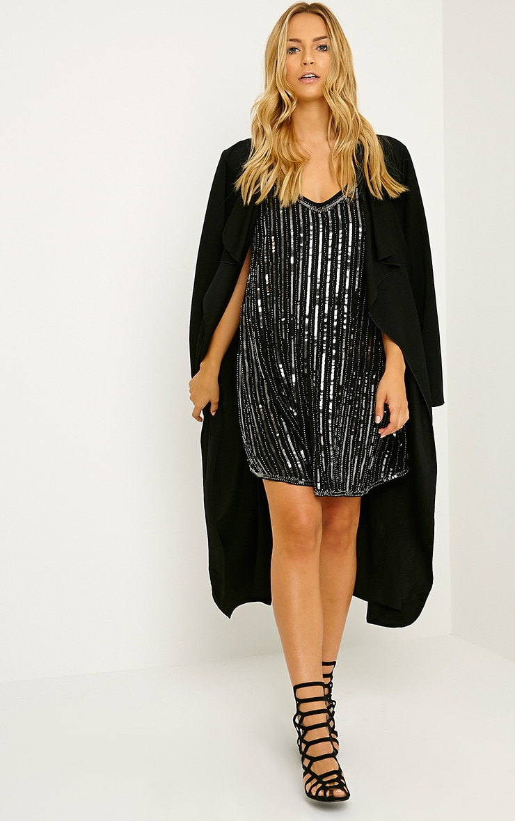 Adelaide Black Sequin Strappy Shift Dress 3