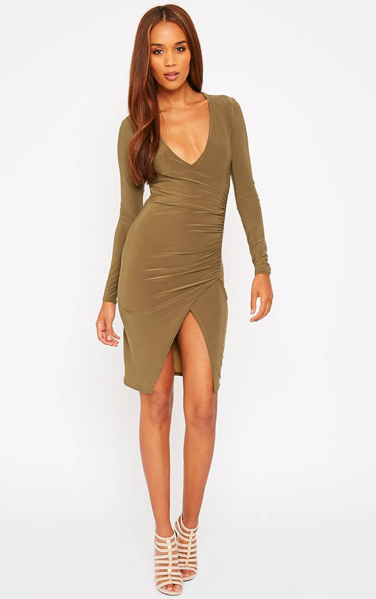 Iona Khaki Slinky Wrap Over Gathered Mini Dress 4