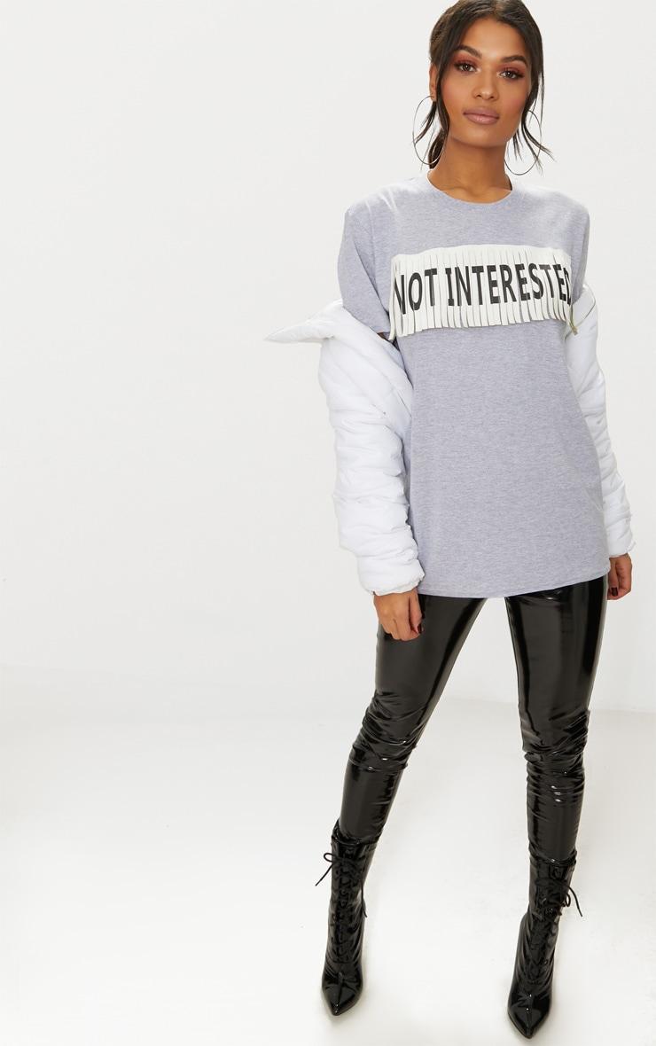 Grey Marl Not Interested Slogan Fringe Oversized T Shirt 4