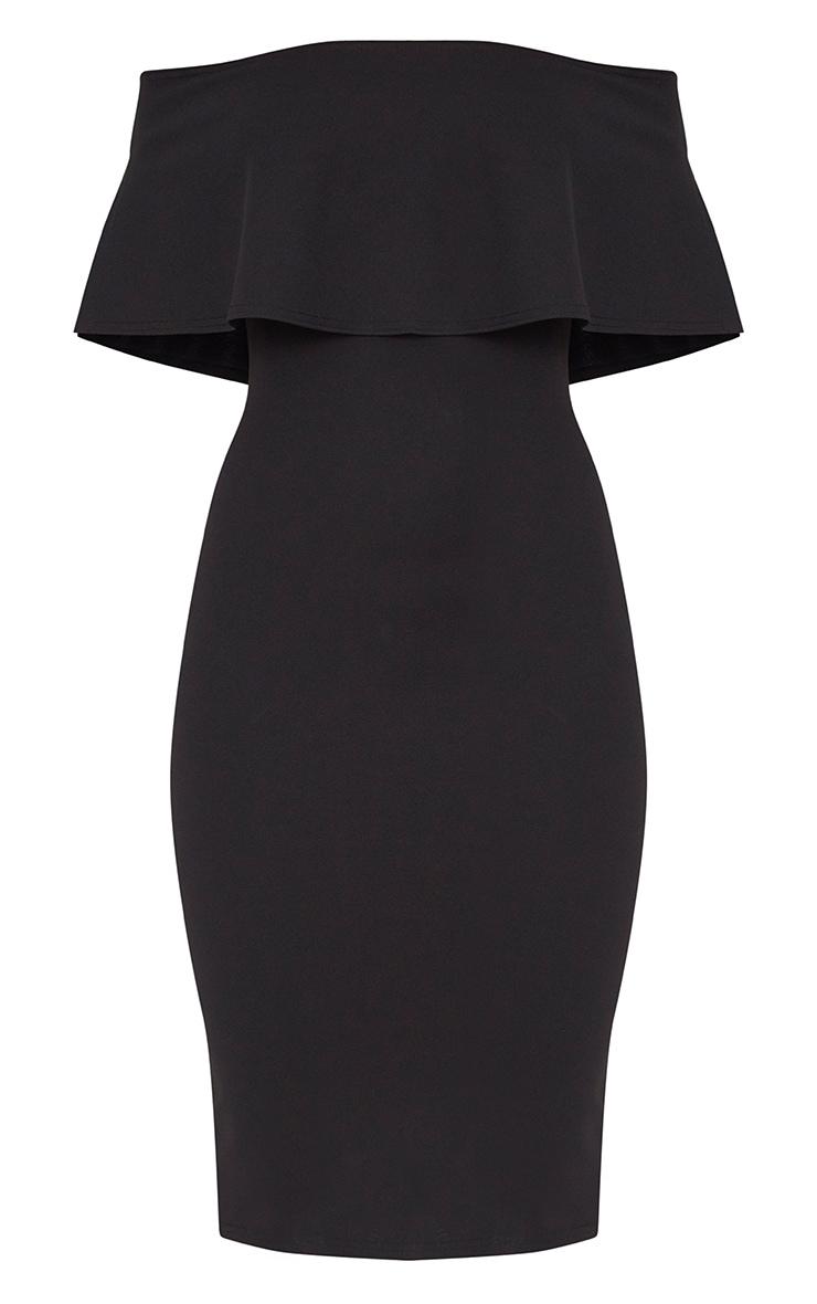 Black Bardot Frill Midi Dress 3