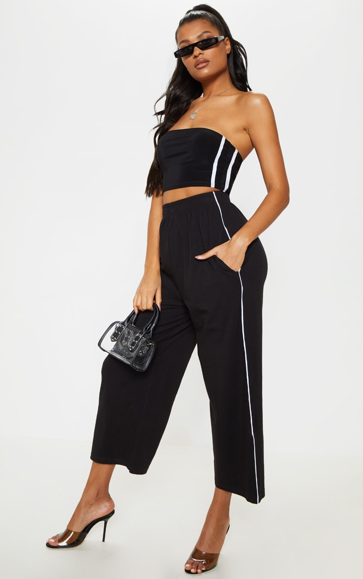 5182bf0d02 Black Jersey Contrast Binding Wide Leg Cropped Pants image 1