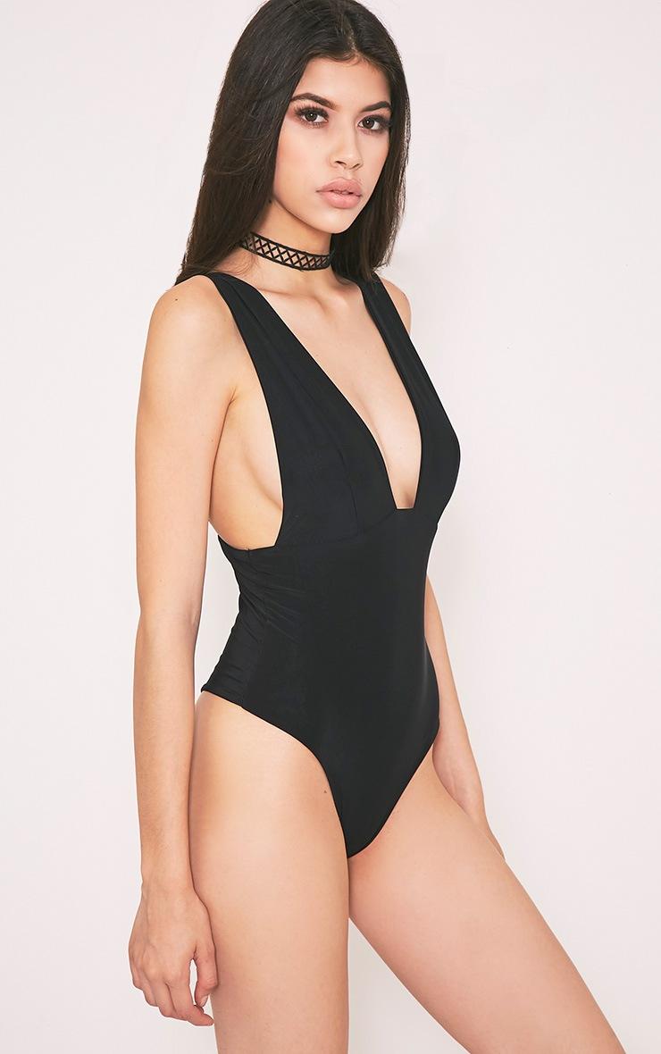 Vana body-string près du corps à décolleté plongeant noir 3