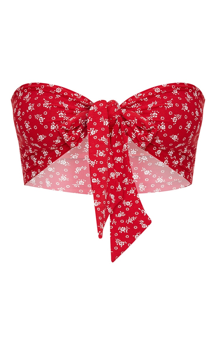 Red Ditsy Floral Bandeau Tie Front Bralet 3