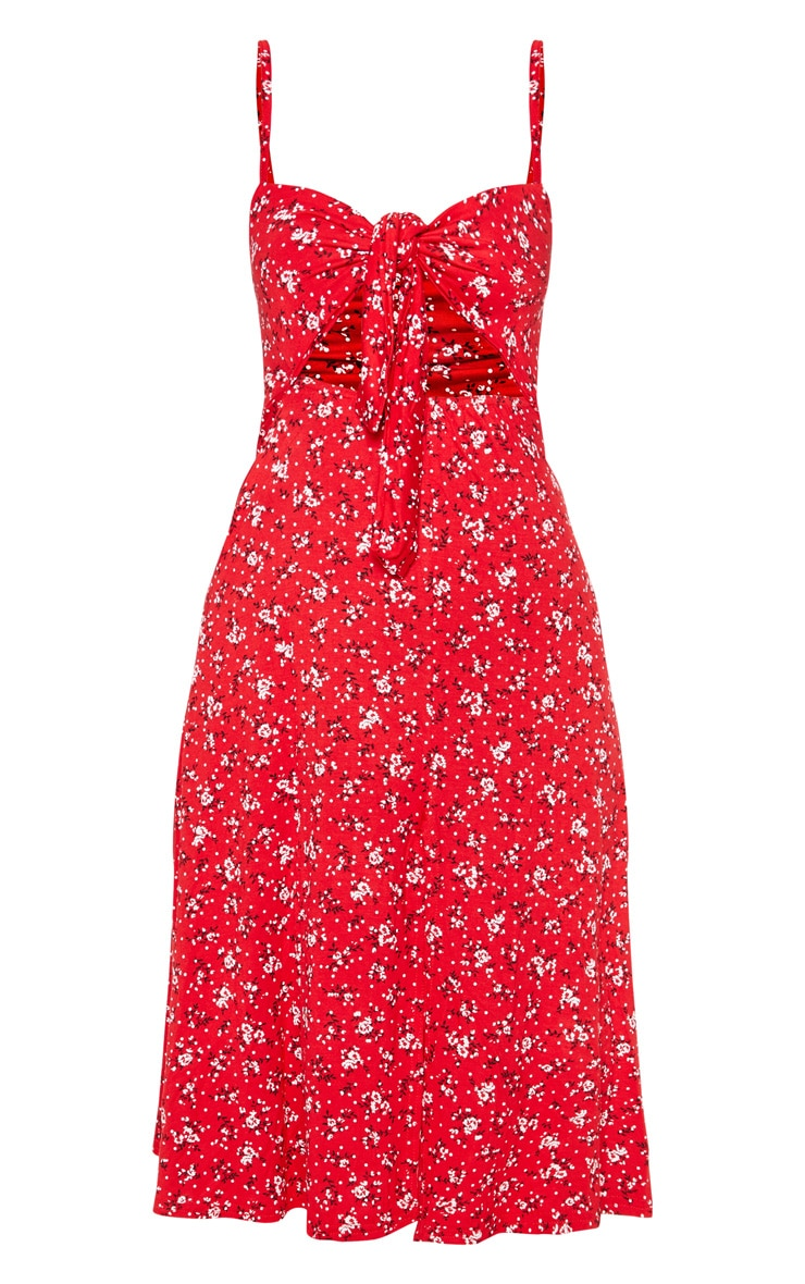 Petite Red Ditsy Floral Tie Front Strappy Swing Dress 3