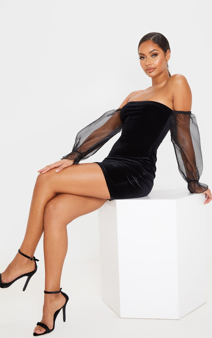 Black Organza Bardot Sleeve Velvet Bodycon Dress 4