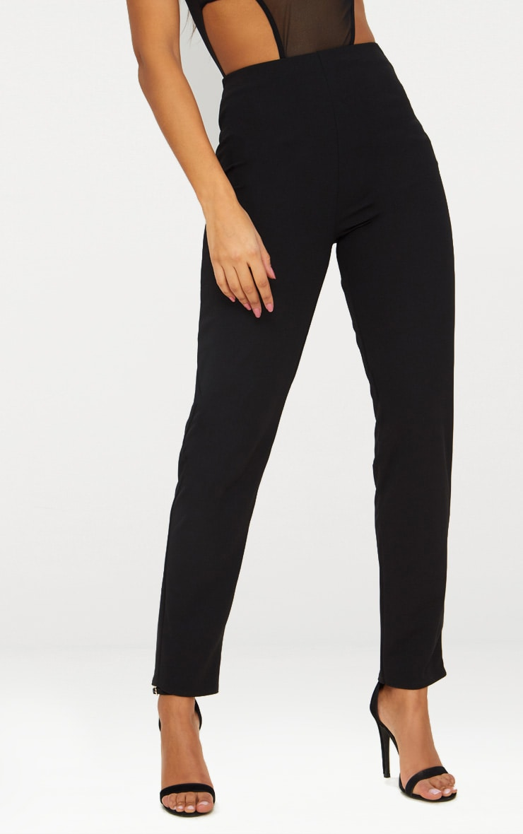 Black Slim Leg Crepe Pants 2