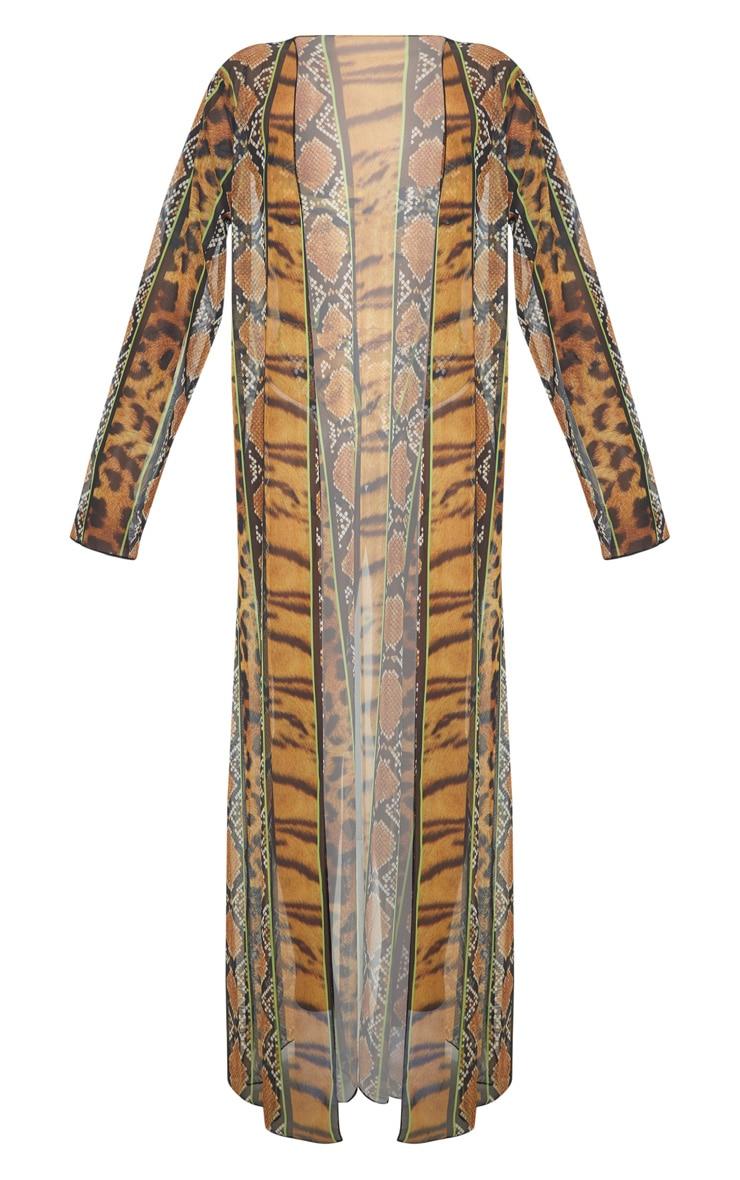 Orange Stripe Tiger Print Kimono 4