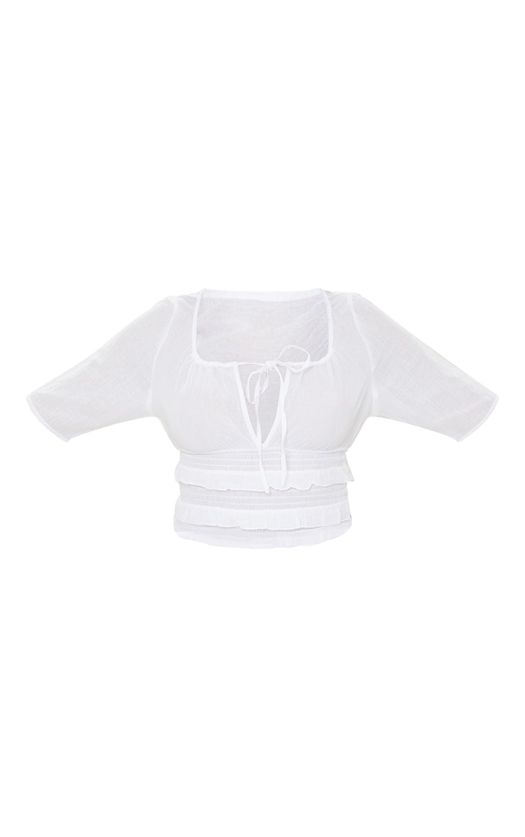 White Linen Look Ruffle Strappy Crop Top 5