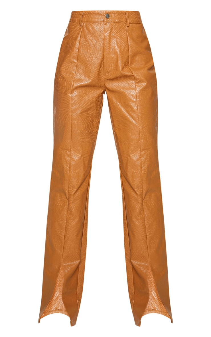 PREMIUM Tan Faux Leather Croc Split Hem Skinny Pants 5
