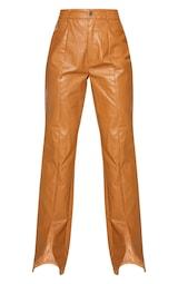 Tan Faux Leather Croc Split Hem Skinny Trousers 5