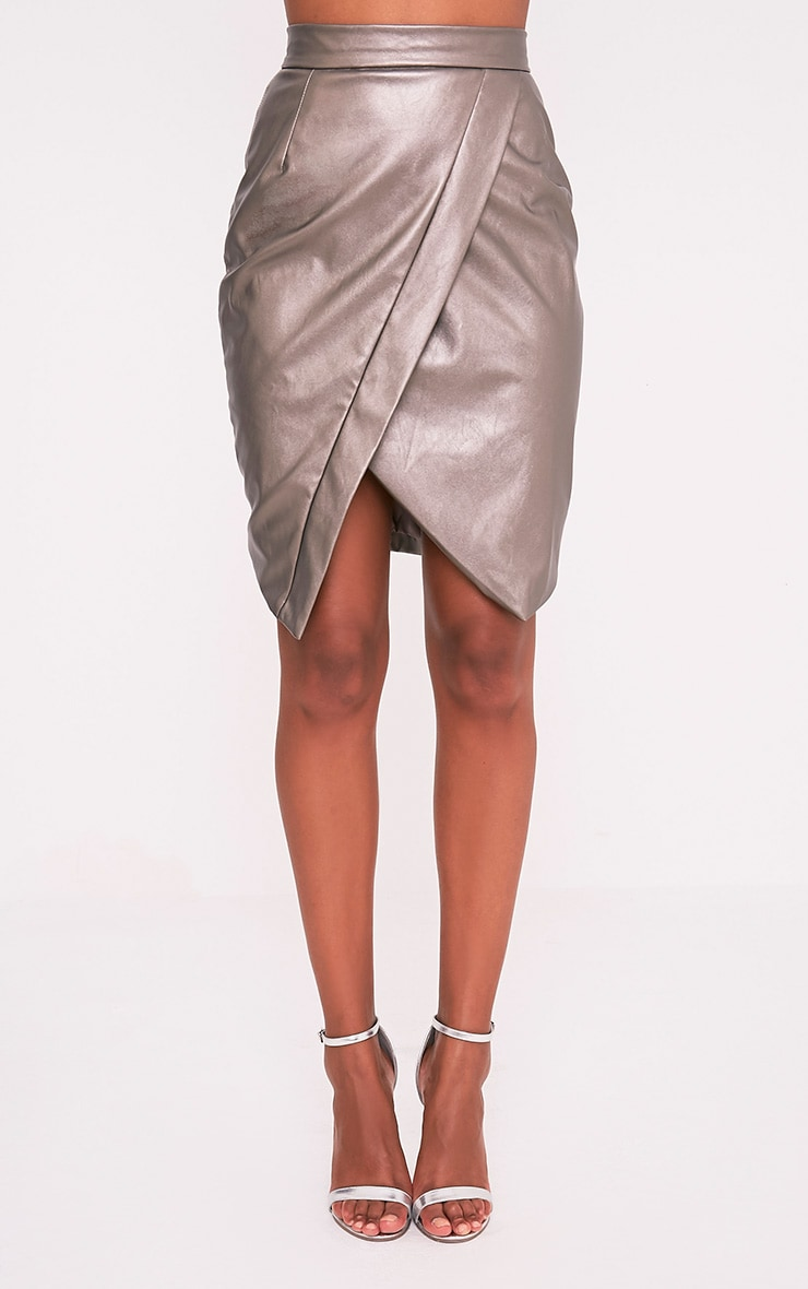 Greer Metallic Pewter Faux Leather Wrap Midi Skirt 2