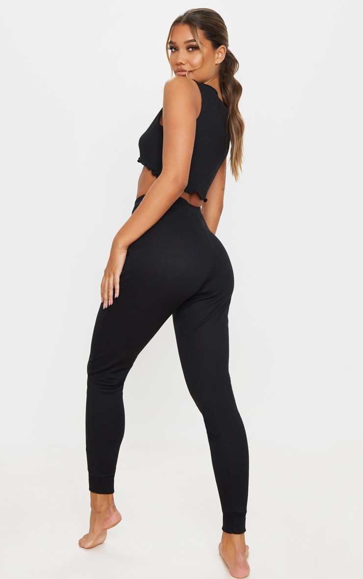 Black Ribbed Legging And Frill Edge Crop PJ Set 2
