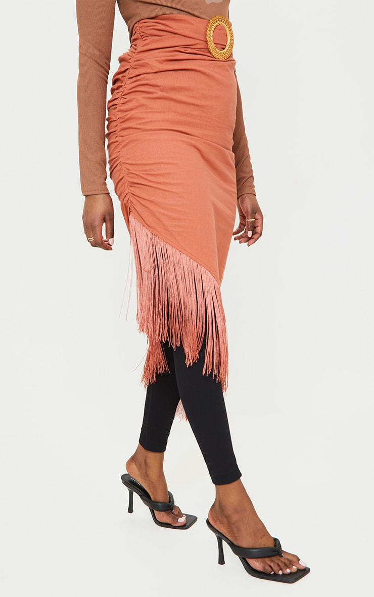 Rust Woven Belted Tassel Midaxi Skirt 2
