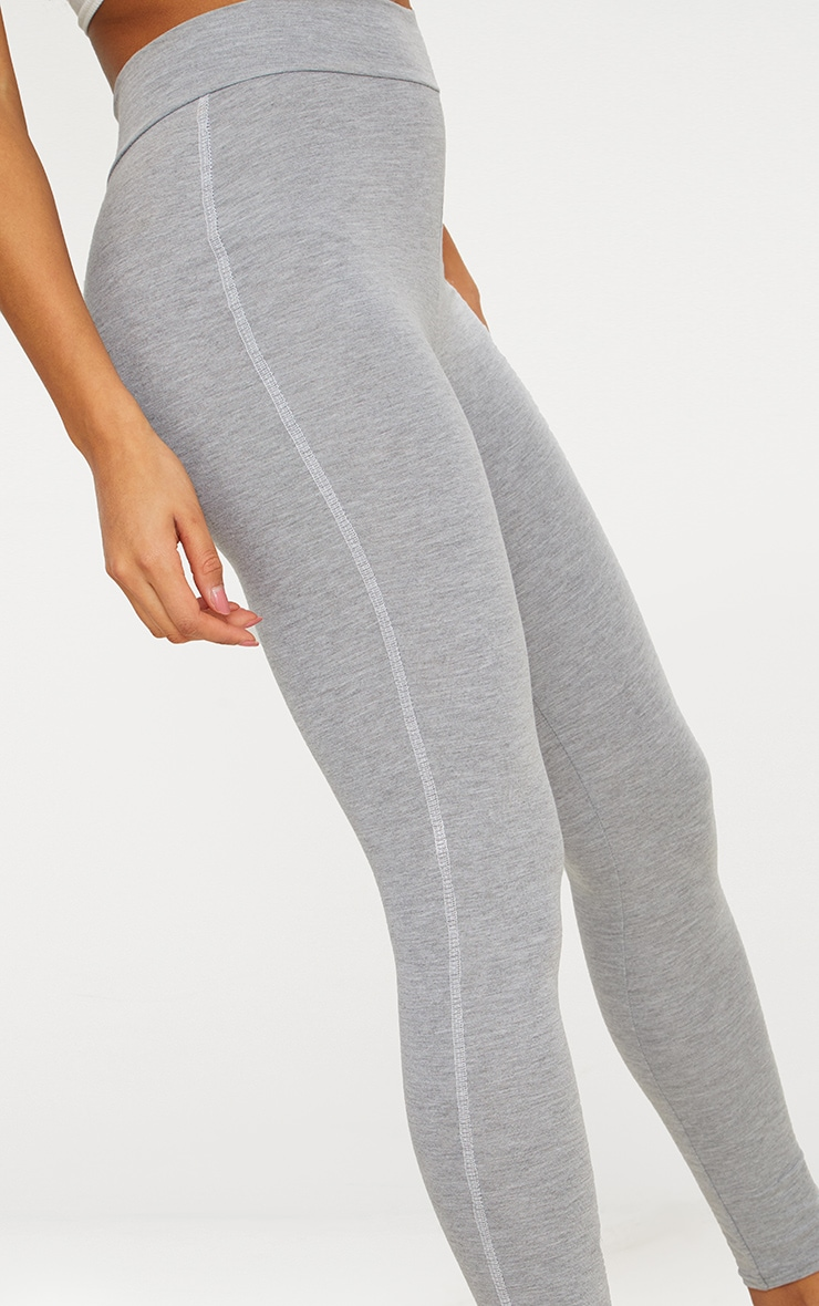 Grey Contrast Overlock Stitch Legging 4