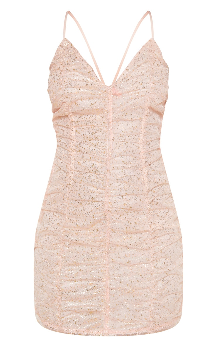 Dusty Pink Gold Metallic Speckled Ruched Sheer Bodycon Dress 3