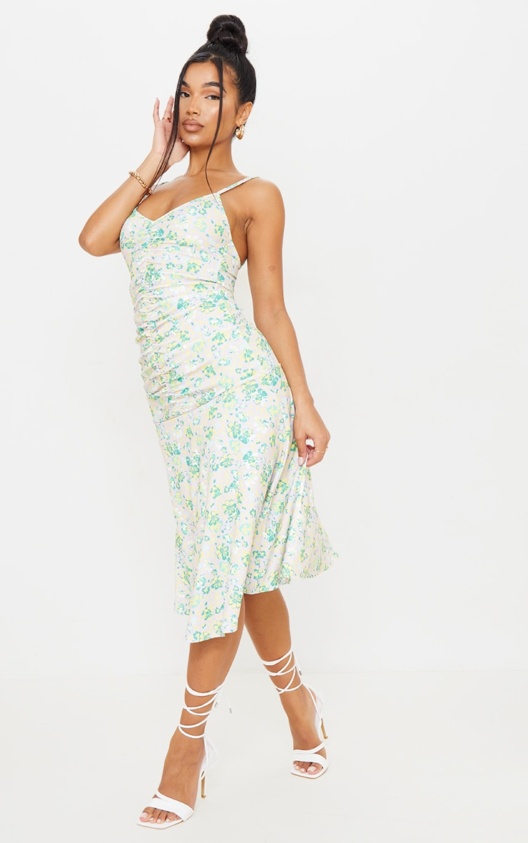 Lilac Floral Print Strappy Ruched Flare Hem Midi Dress 3