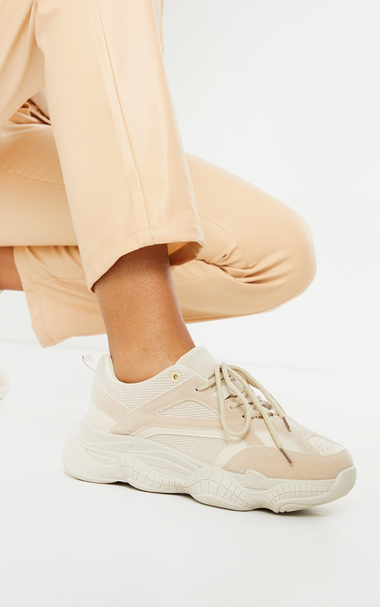 Sand Bubble Sole Mesh And Faux Suede Trainers 1