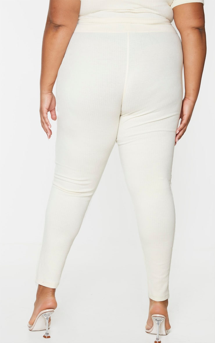 Plus Cream Thick Rib Leggings 3
