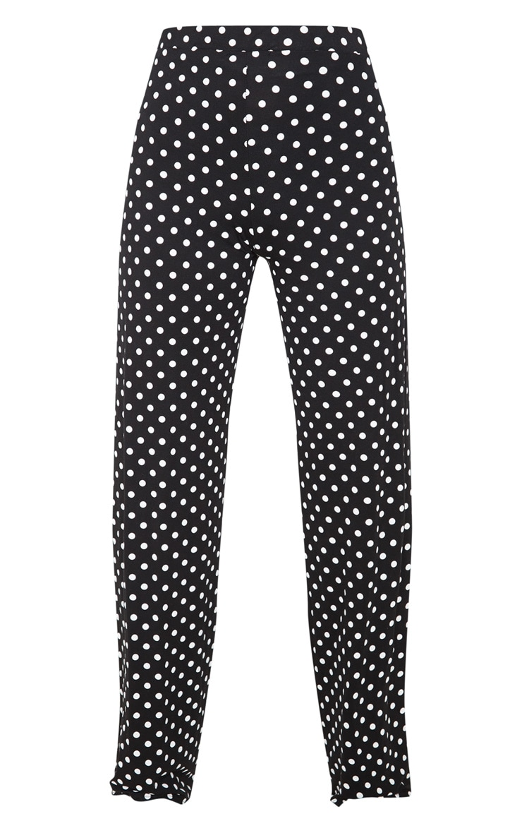 Black Polka Dot Basic Wide Leg Trouser 3