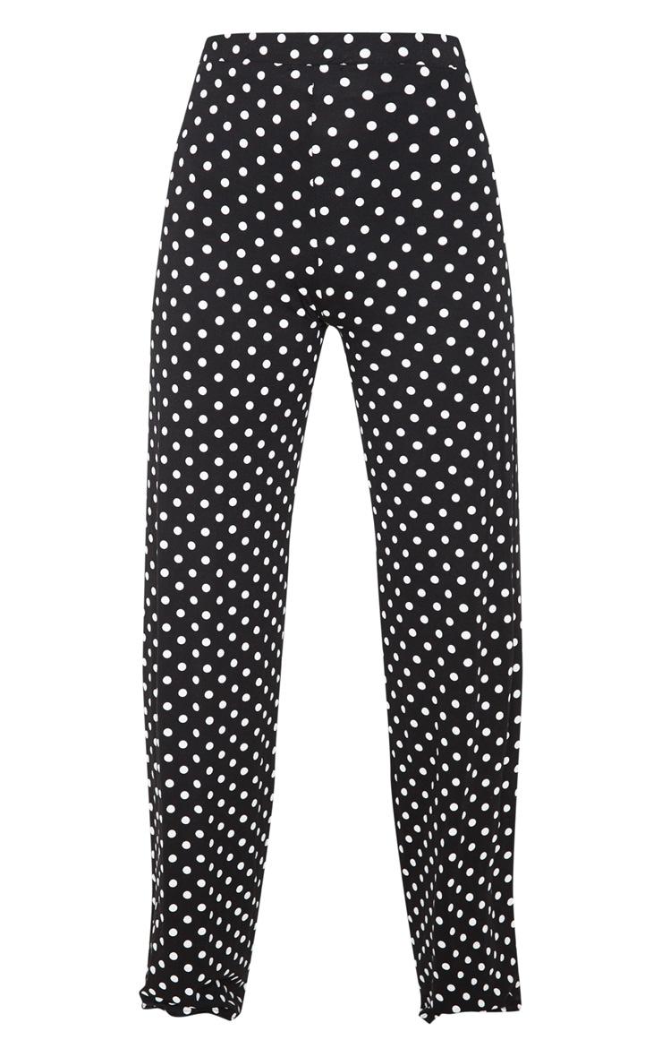 Black Polka Dot Basic Wide Leg Pants 3
