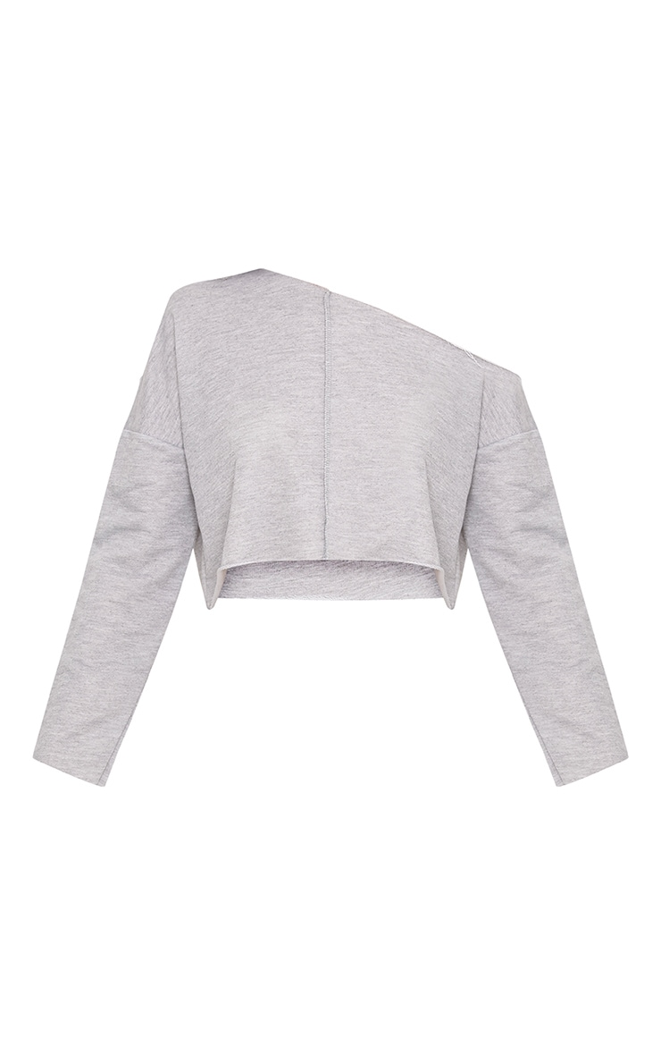 Hadley Grey Off Shoulder Cropped Sweater 3