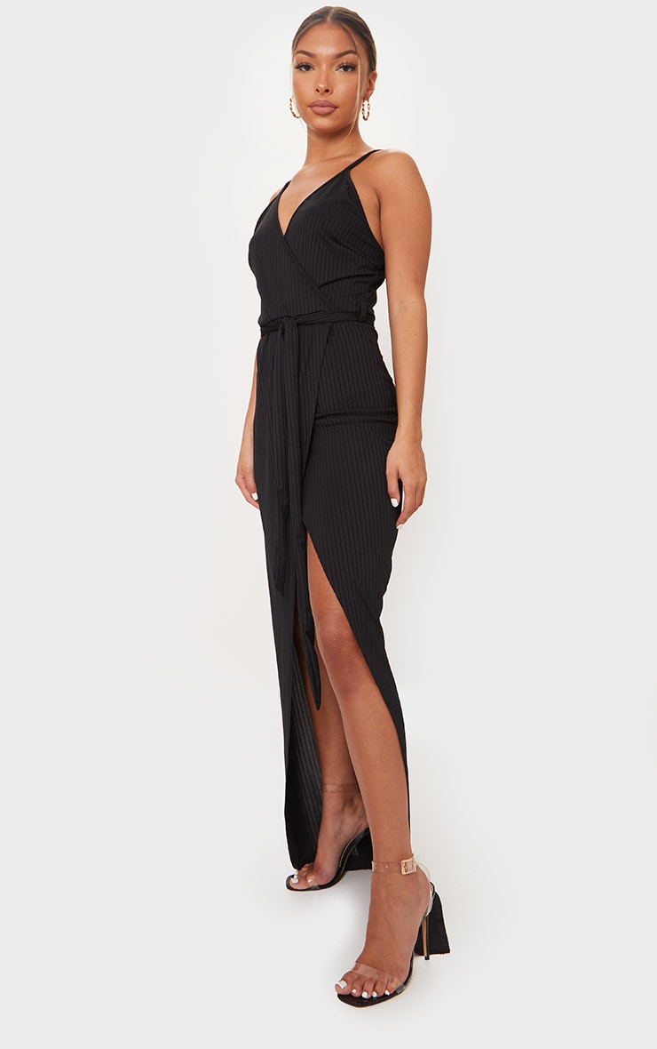 Black Ribbed Wrap Maxi Dress 3