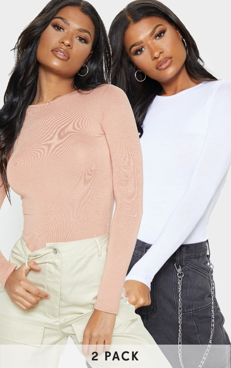 Basic Peach & White 2 Pack Long Sleeve Fitted T Shirt  1