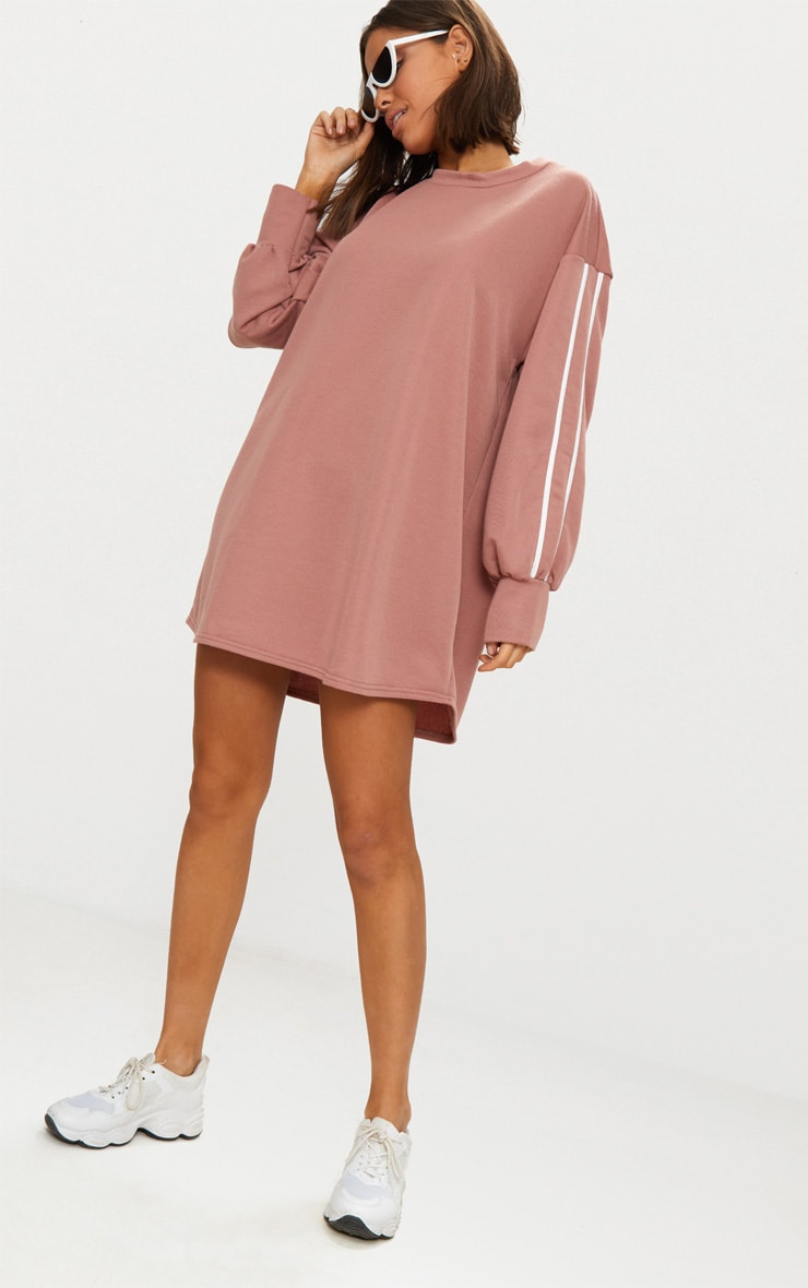 Dark Mauve Side Stripe Jumper Dress 4