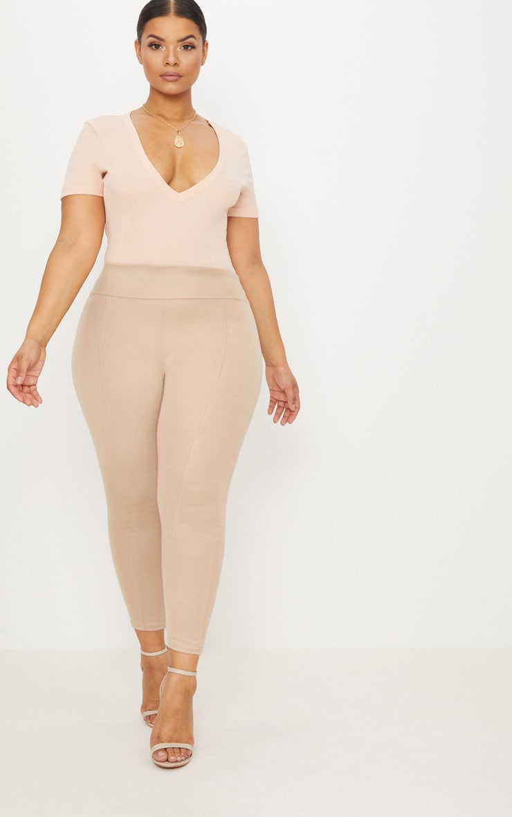 Plus Nude Ribbed Plunge Short Sleeve Bodysuit 5