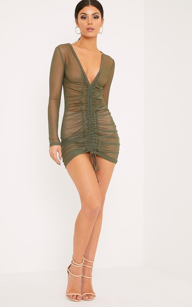 Lianna Khaki Mesh Ruched Bodycon Dress 3