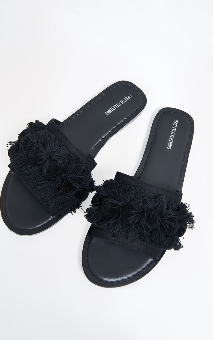 Black Tassel And Pom Pom Mule Sandals 3