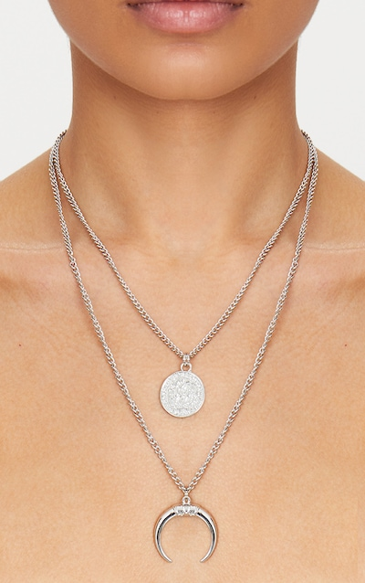 Silver Coin Bull Horn Layered Necklace