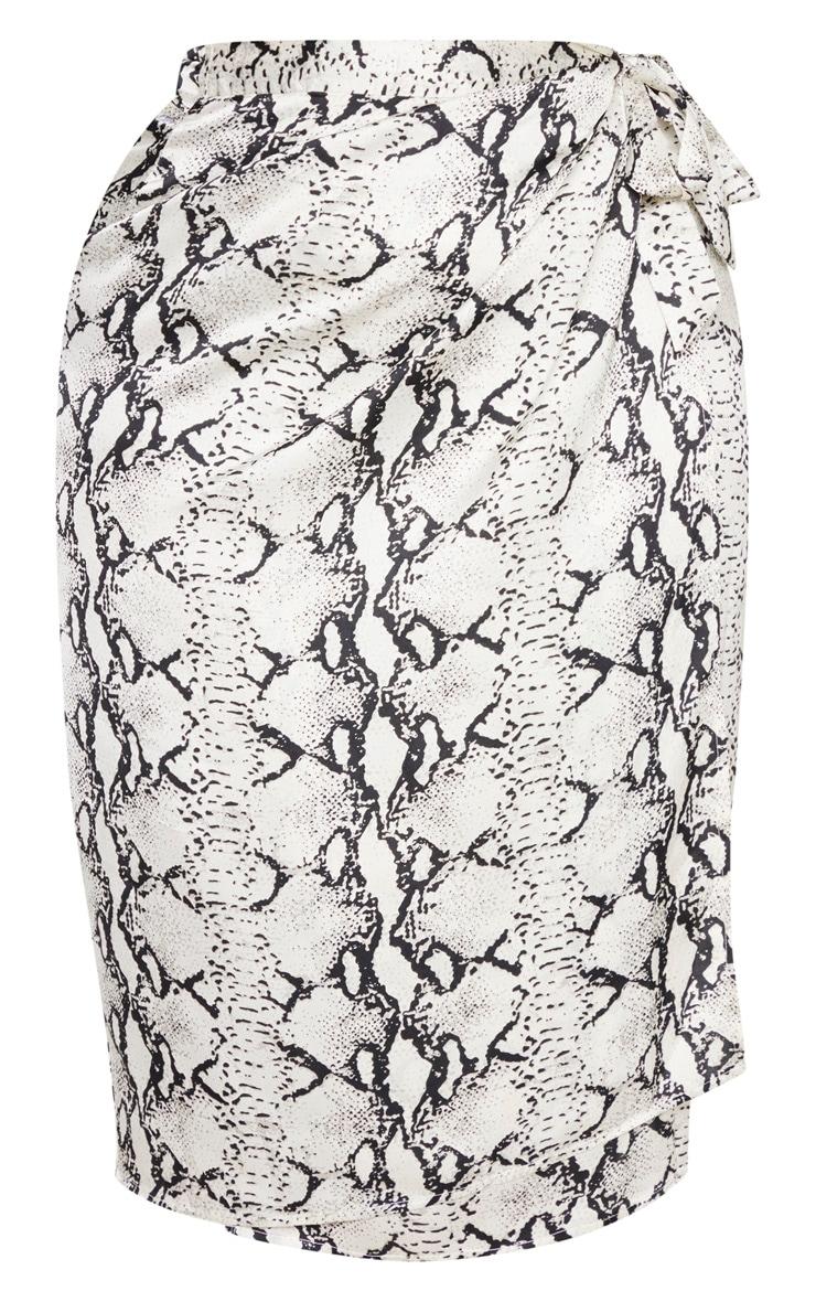 Plus Taupe Snake Print Wrap Around Midi Skirt  3