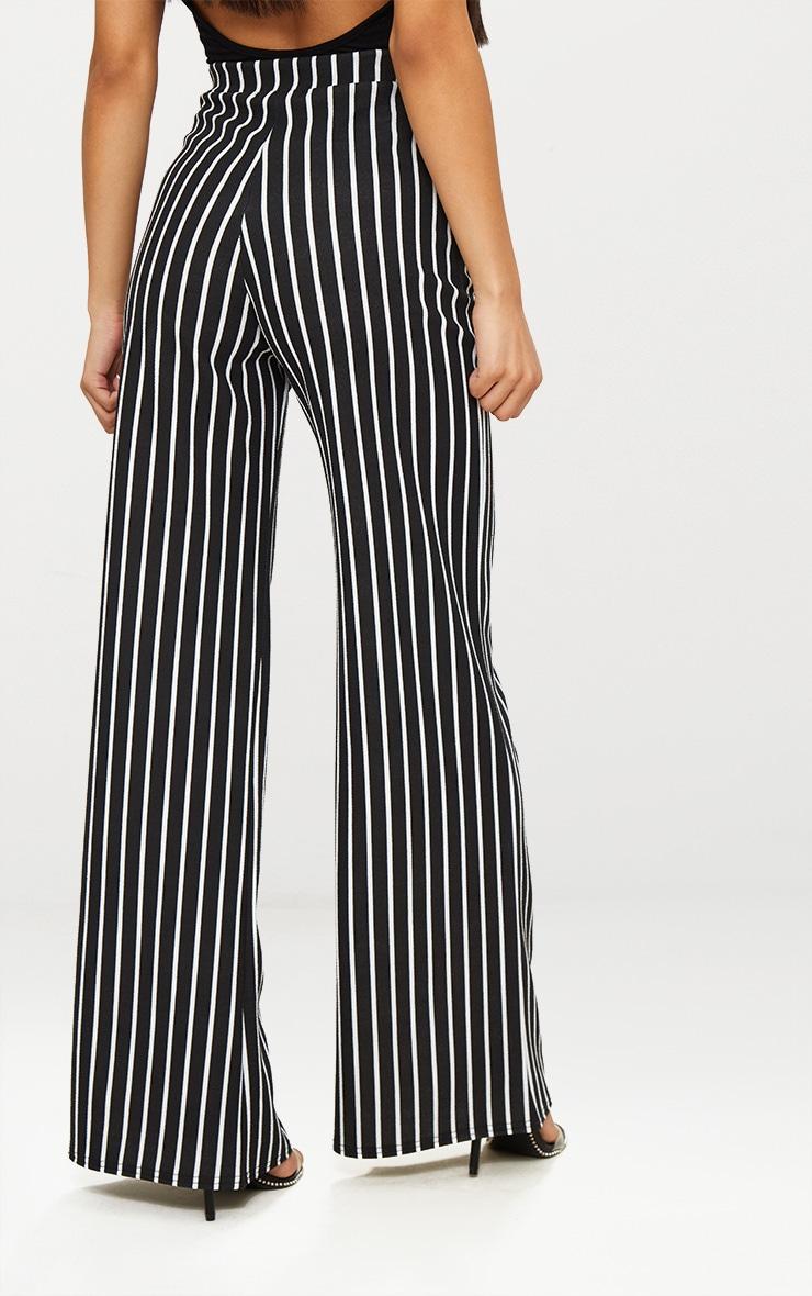 Black Crepe Pinstripe Wide Leg Trouser 4